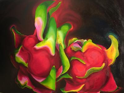 Two Pitayas Painting by Hyon Joo Kim