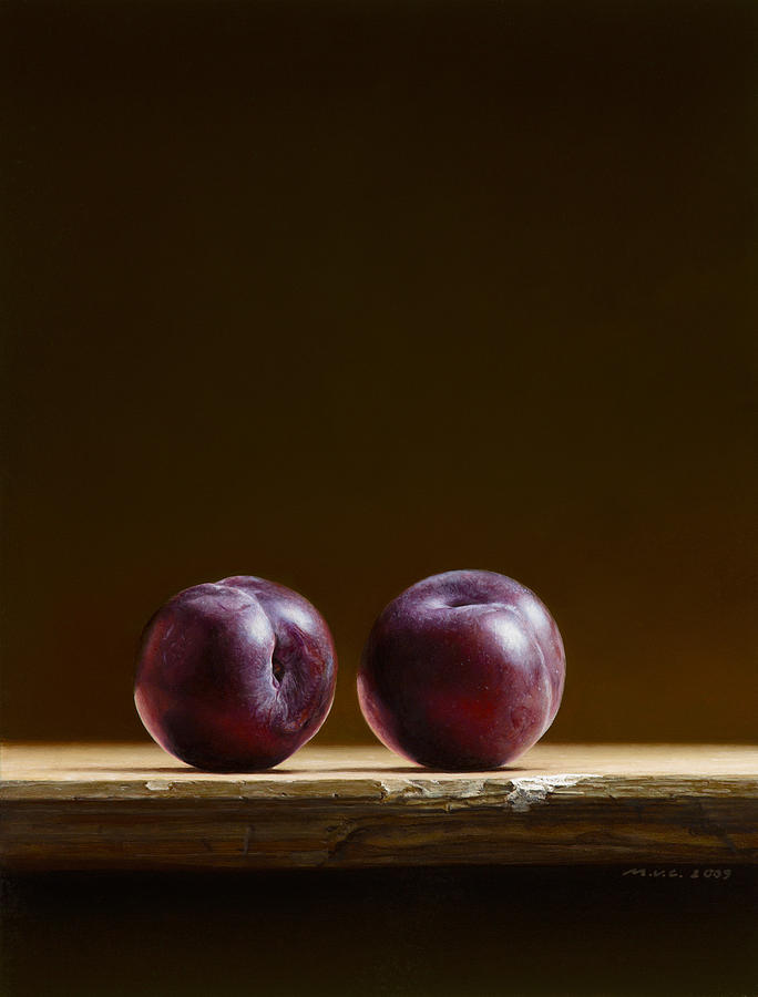 Stillife Painting - Two Plums by Mark Van crombrugge