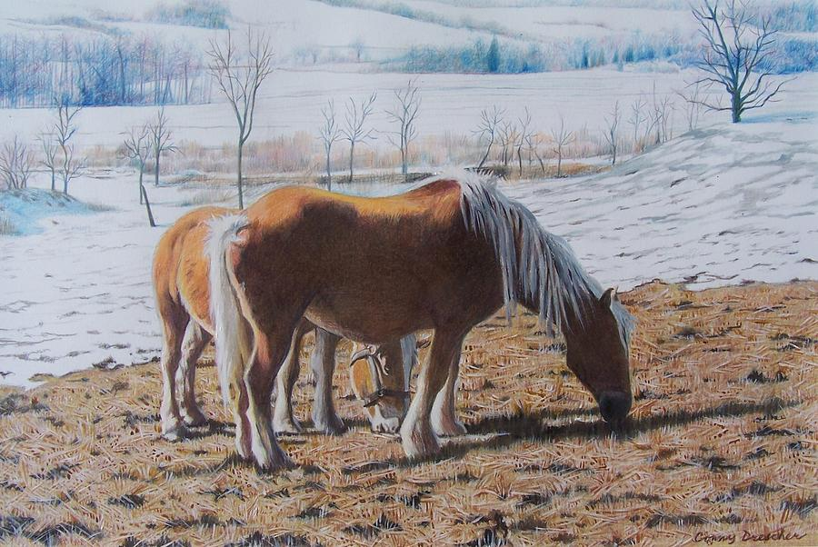 Horses Mixed Media - Two Ponies In The Snow by Constance Drescher