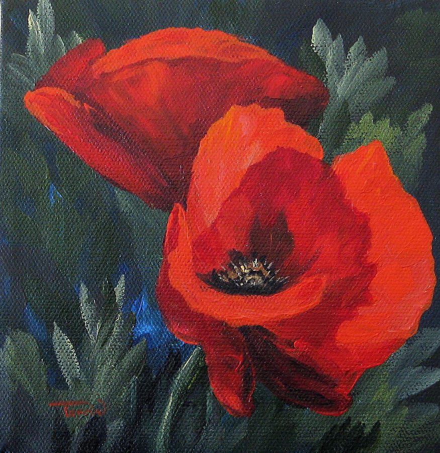 Poppies Painting - Two Poppies  by Torrie Smiley