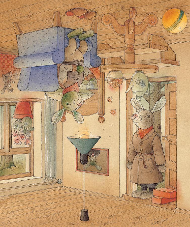 Rabbits Painting - Two Rabbits by Kestutis Kasparavicius