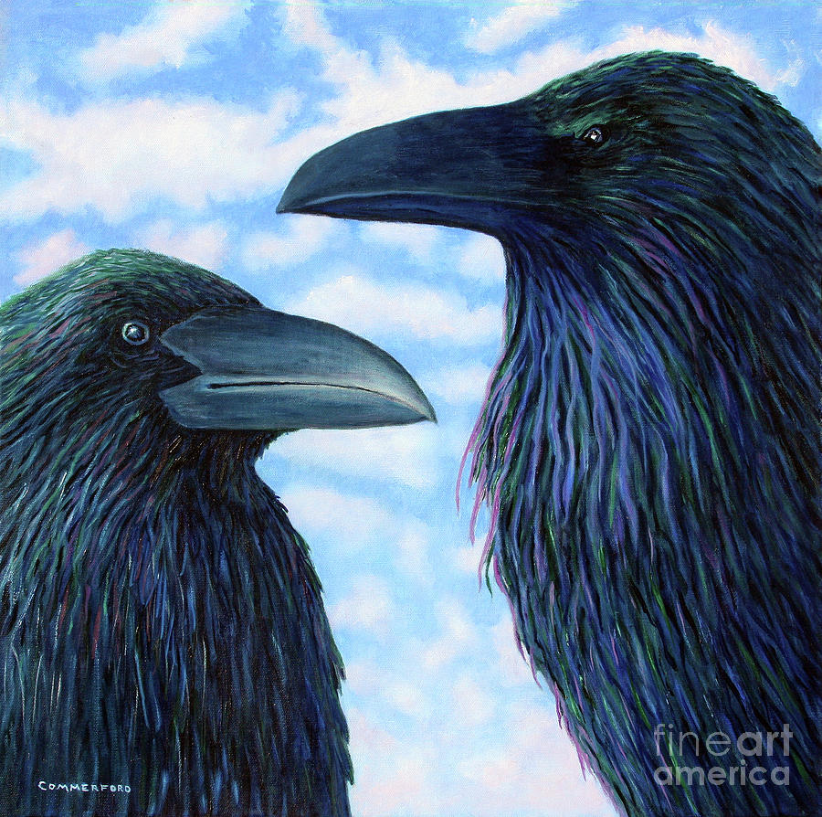 Raven Painting - Two Ravens by Brian  Commerford
