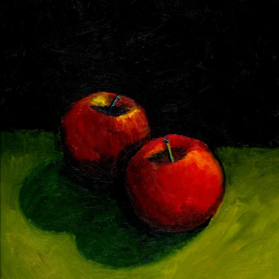Red Painting - Two Red Apples Still Life by Michelle Calkins
