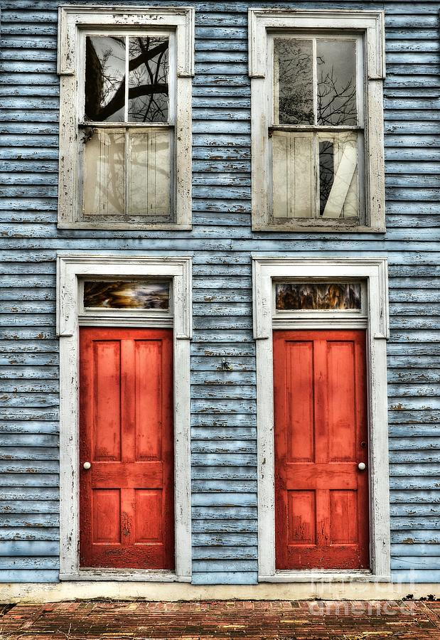 Red Doors Photograph - Two Red Doors by Mel Steinhauer