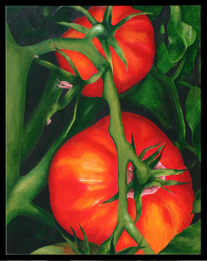Tomatoes Painting - Two Red Tomatoes by Pepe Romero