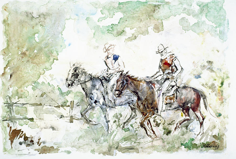 Cowboys Painting - Two Riders by Nicolay Paskevich