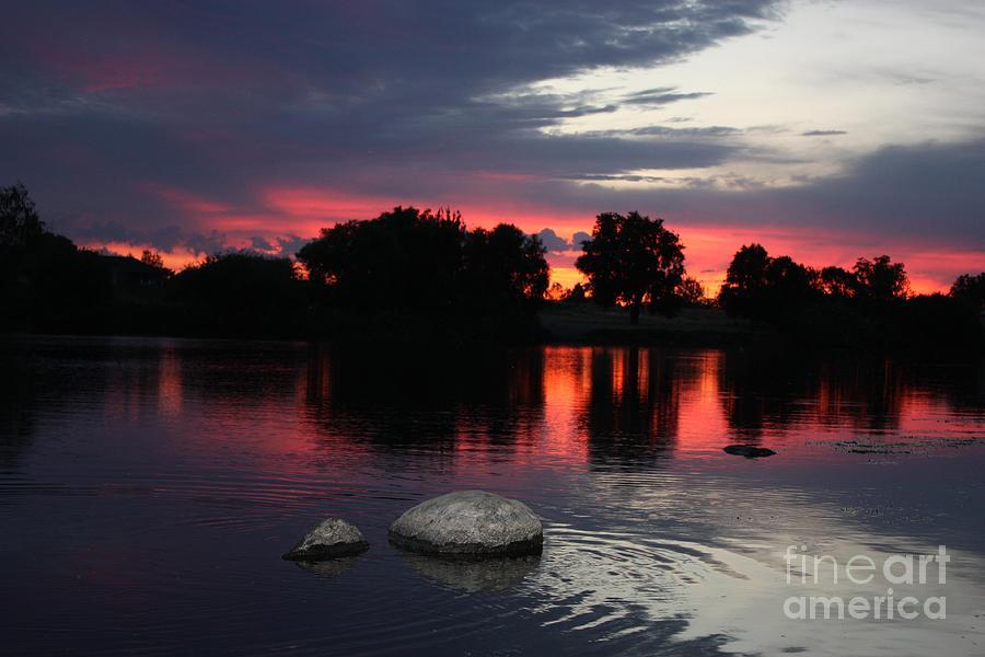 Prosser Photograph - Two Rocks Sunset In Prosser by Carol Groenen