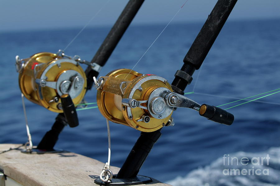 Boat Photograph - Two Rod And Reels On Board A Game Fishing Boat In The Mediterranean Sea by Sami Sarkis