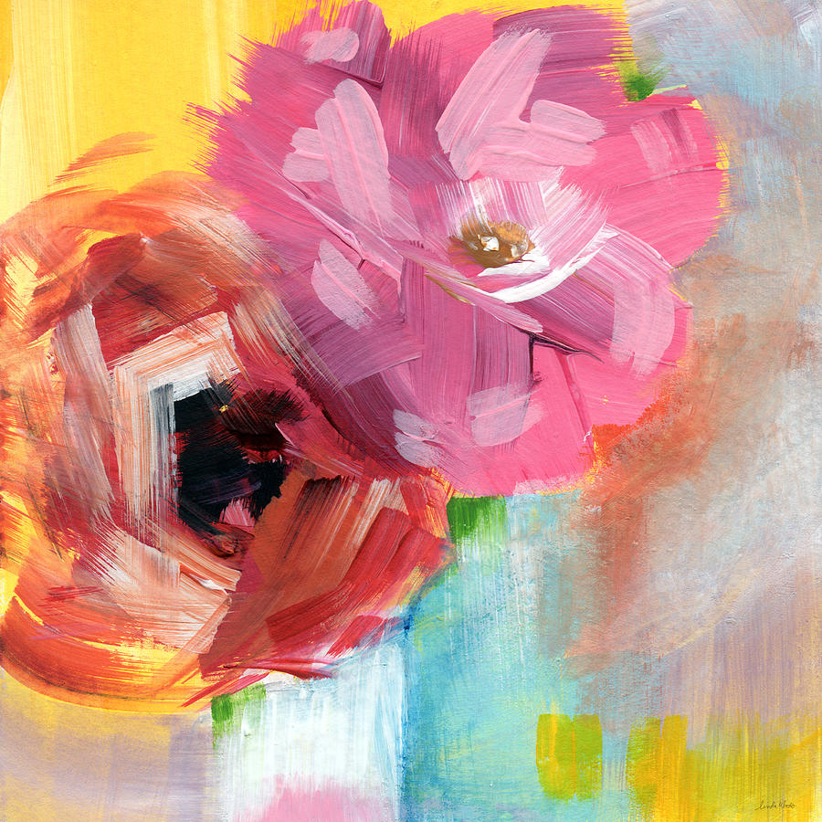 Two Roses- Art By Linda Woods Painting