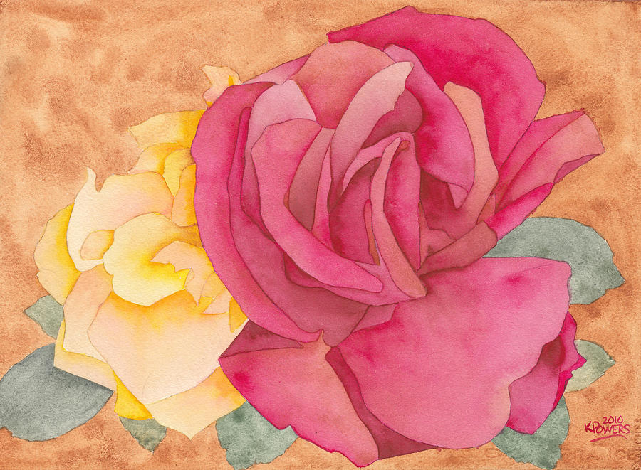 Rose Painting - Two Roses by Ken Powers