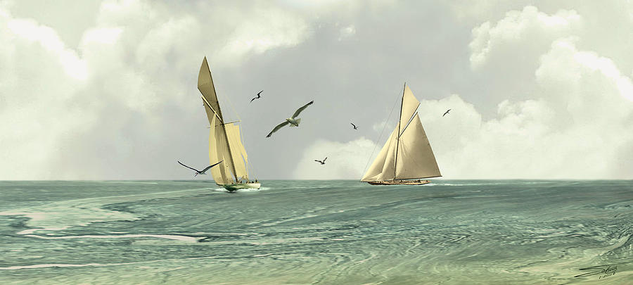Seascape Digital Art - Two Sailboats by M Spadecaller
