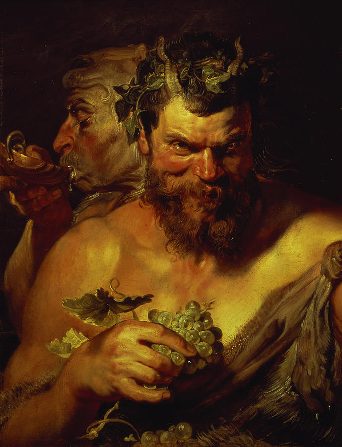 Baroque; Horns; Grapes; Drinking; Scallop Shell; Evil; Devilish Painting - Two Satyrs by Peter Paul Rubens