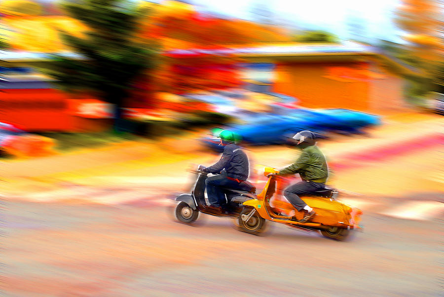 Vespa Photograph - Two Scooters by Craig Perry-Ollila