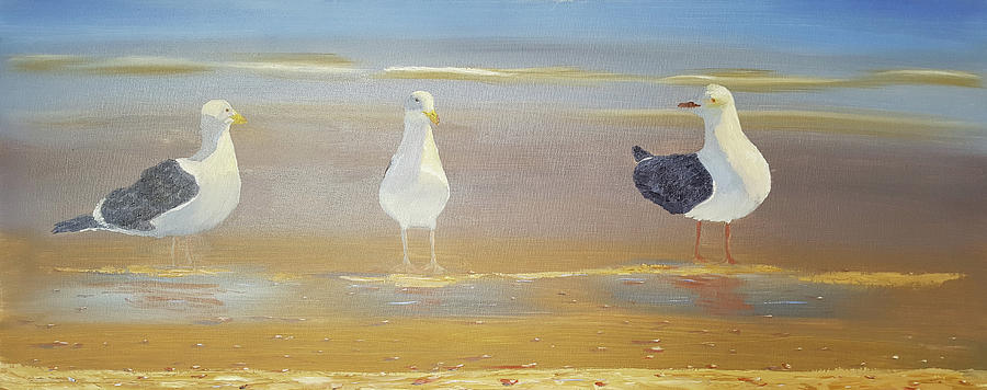 Two Seagulls Wondering Where The Chips Have Gone by Russell Collins