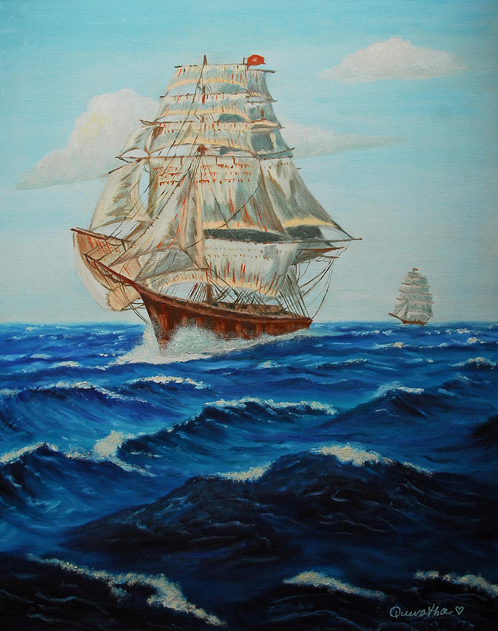 Ship Painting - Two Ships Sailing by Quwatha Valentine