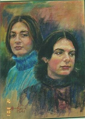 Portrait Painting - Two Sisters by Harvey Segal