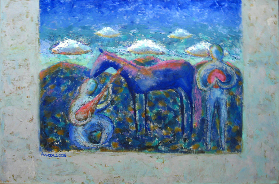 Horse Painting - Two Spirits by Aliza Souleyeva-Alexander