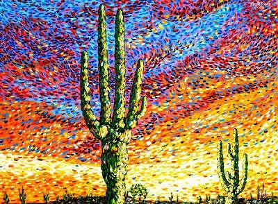 Southwest Painting - Two Standing Tall Arizona by Max R Scharf