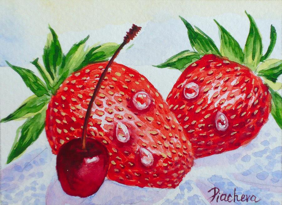 Strawberries Painting - Two Strawberries And Cherry. by Natalia Piacheva