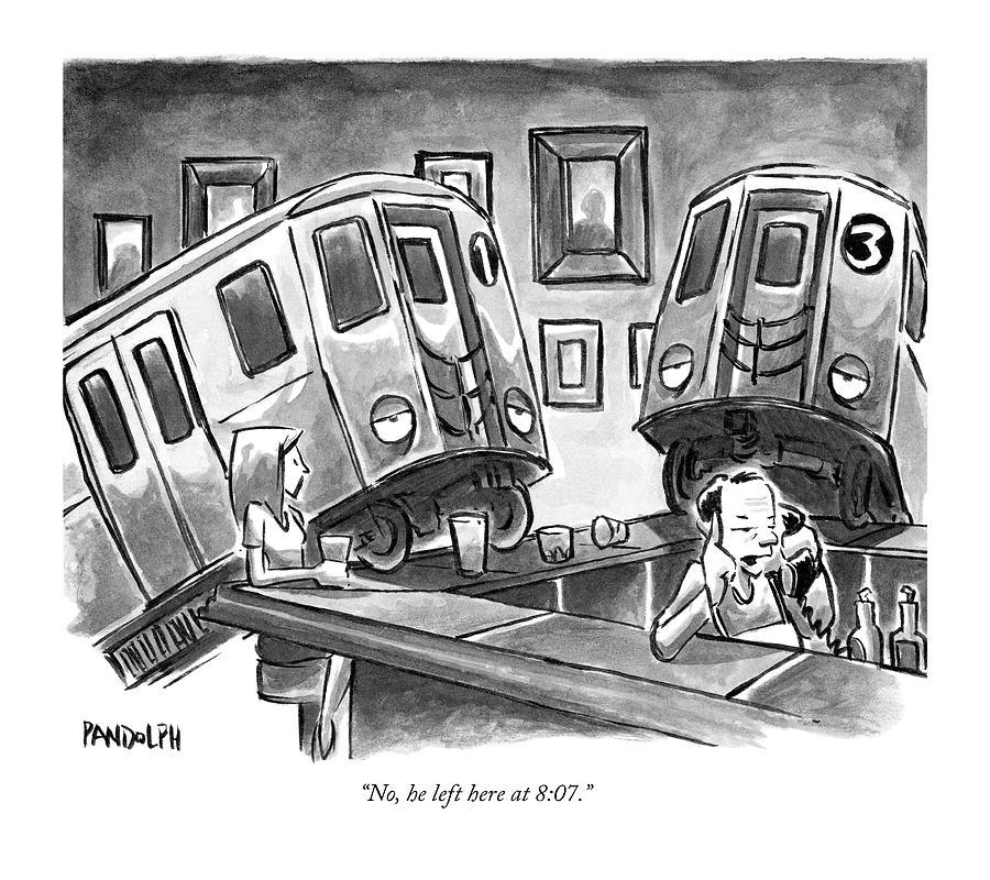 Two Subway Trains Sit Drunk At A Bar Drawing by Corey Pandolph