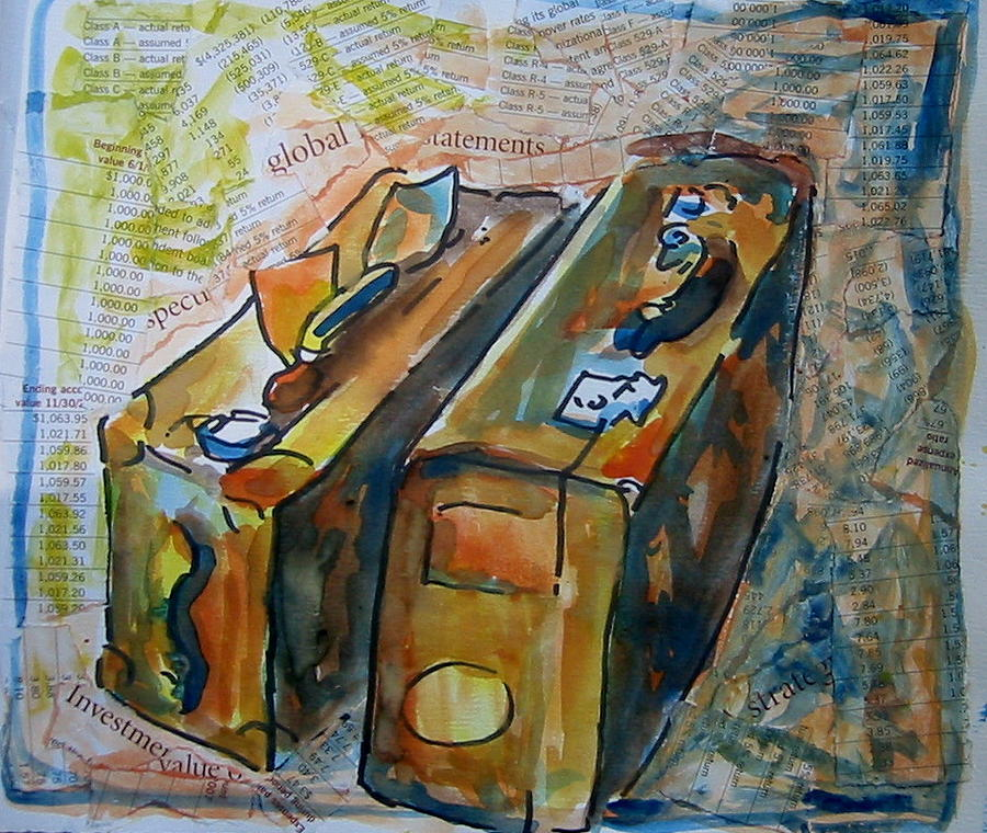 Travel Painting - Two Suitcases With Financial Statements by Tilly Strauss