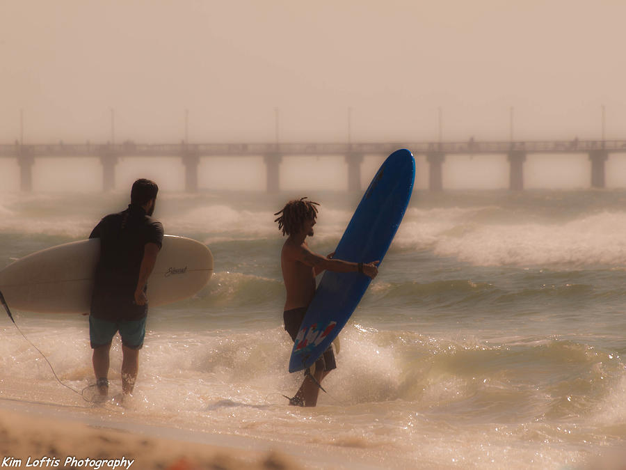 Sea Photograph - Two Surfers by Kim Loftis