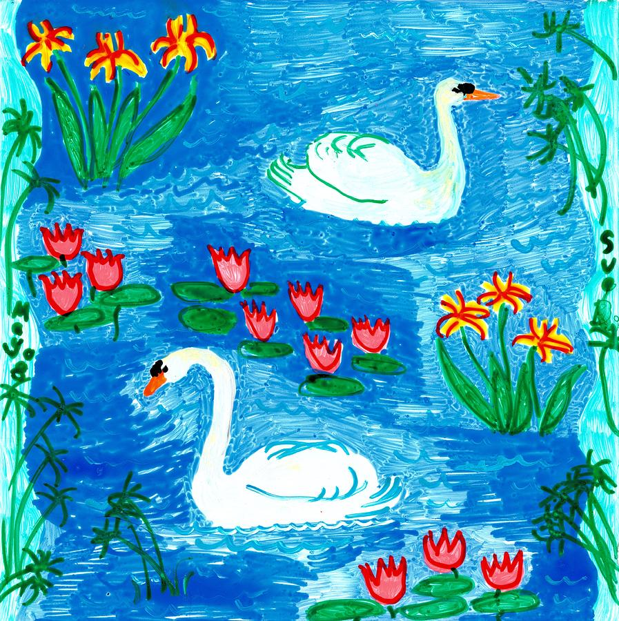 Sue Burgess Painting - Two Swans by Sushila Burgess