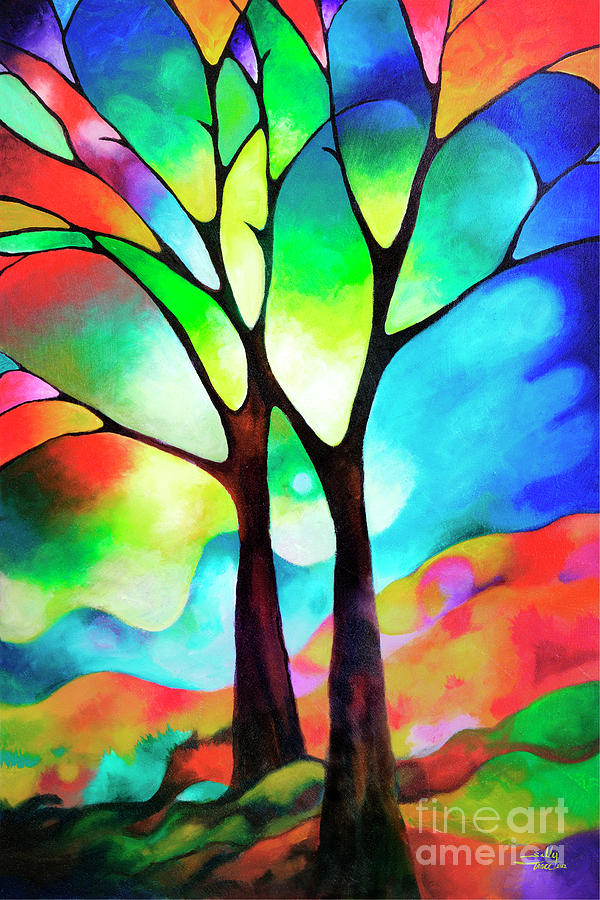 Tree Painting - Two Trees by Sally Trace