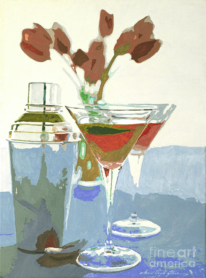 Bars Painting - Two Tulip Martinis by David Lloyd Glover