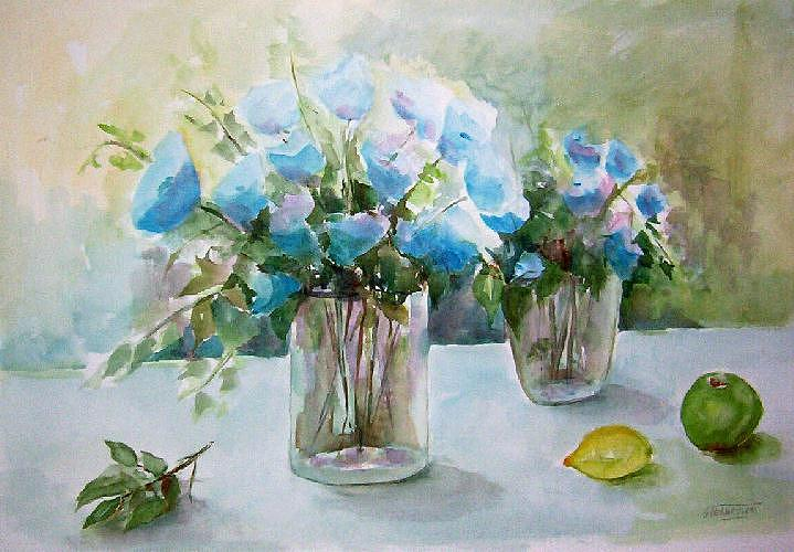 Flowers Painting - Two Vases by Gilberte Vermeulen