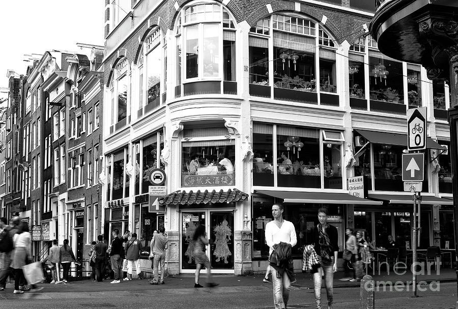 Walk Photograph - Two Walking In Amsterdam Mono by John Rizzuto