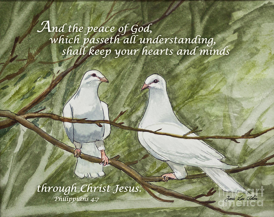 Philippians Painting - Two White Doves Philippians by Janis Lee Colon