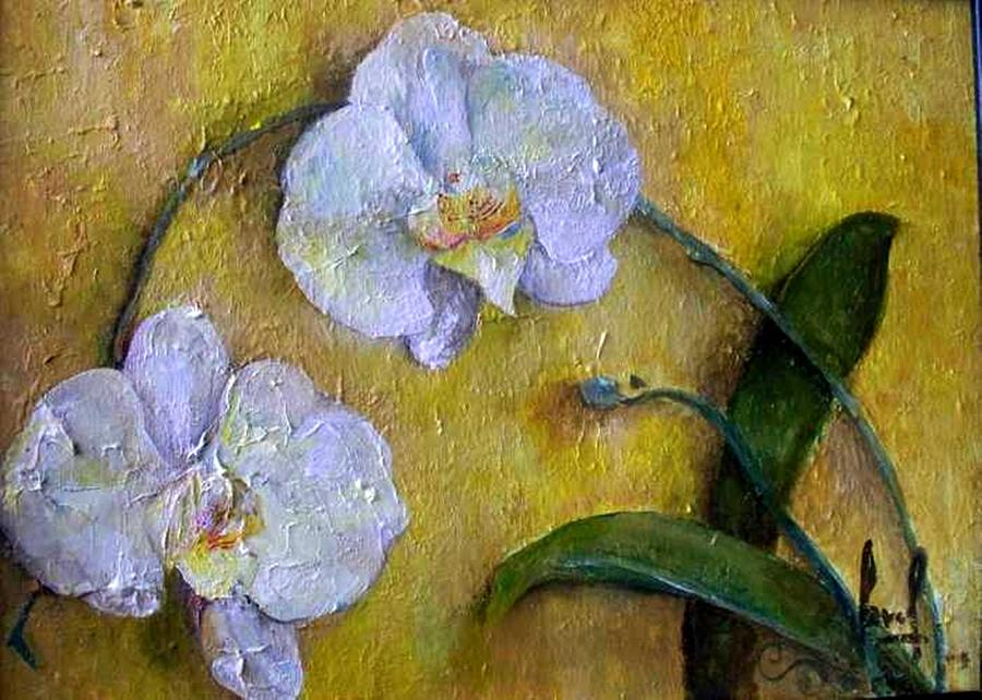 Two White Orchids Painting by Carol P Kingsley