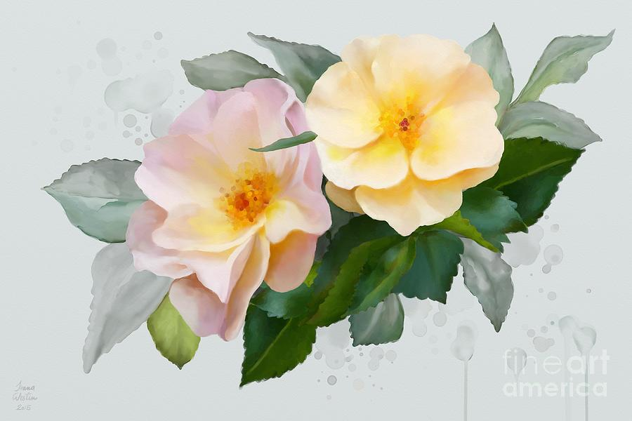Roses Painting - Two Wild Roses by Ivana Westin