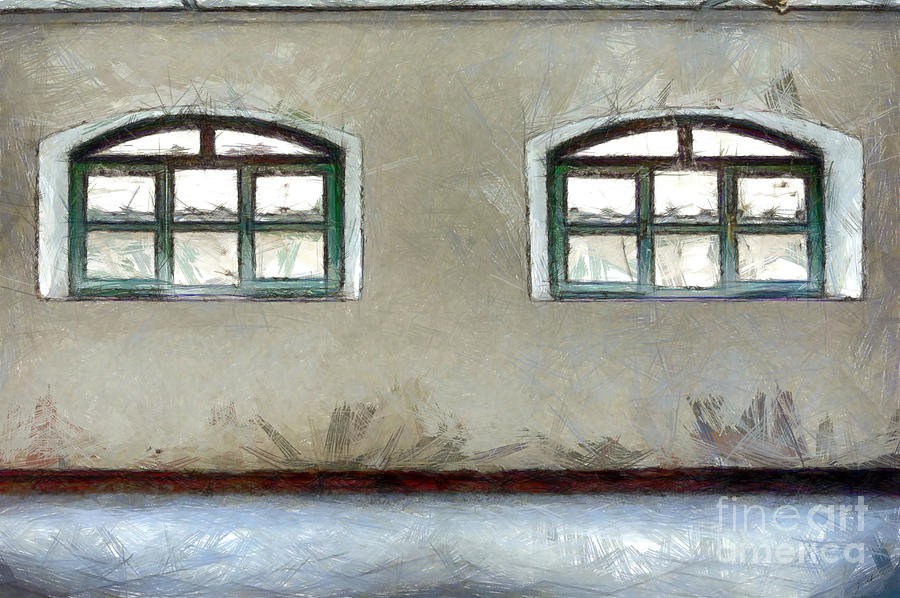 Pencil Digital Art - Two Windows by Giuseppe Cocco