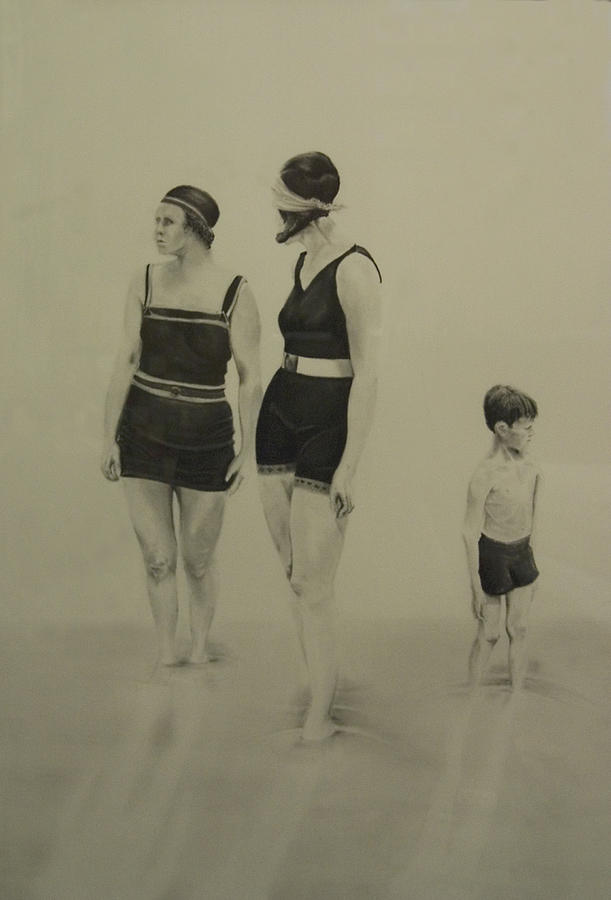 Figurative Drawing - Two Women Bathers With Child by John C