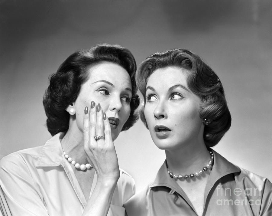 1950s Photograph - Two Women Gossiping, C.1950-60s by Debrocke/ClassicStock
