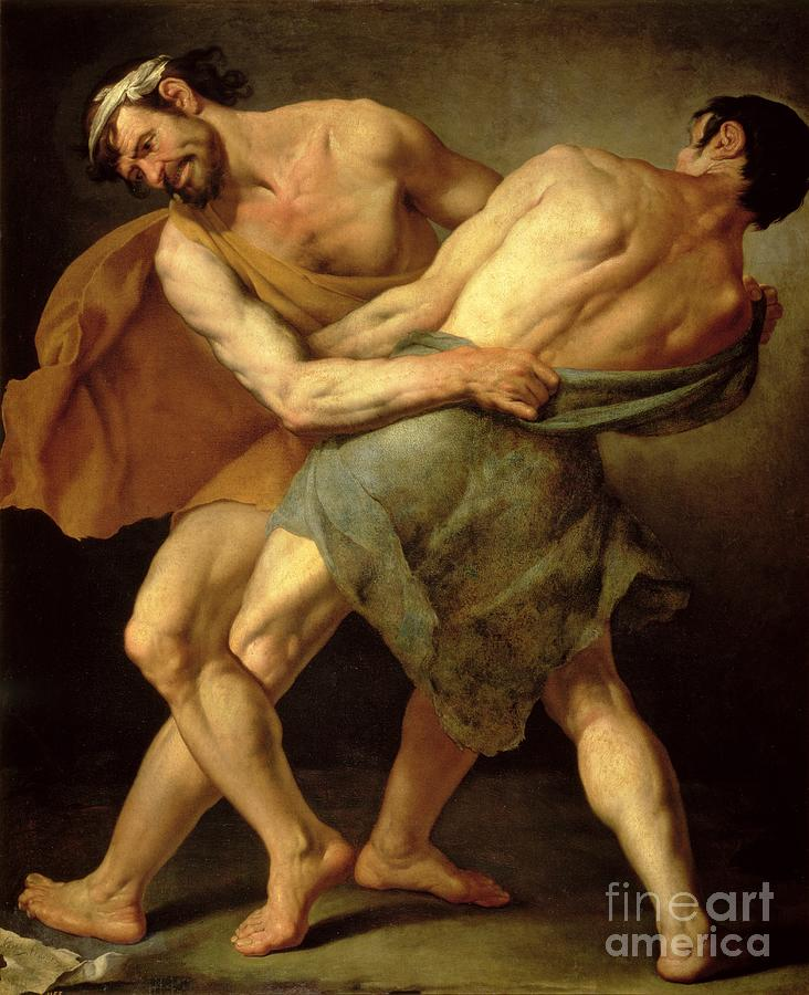 Nude Painting - Two Wrestlers by Cesare Francazano