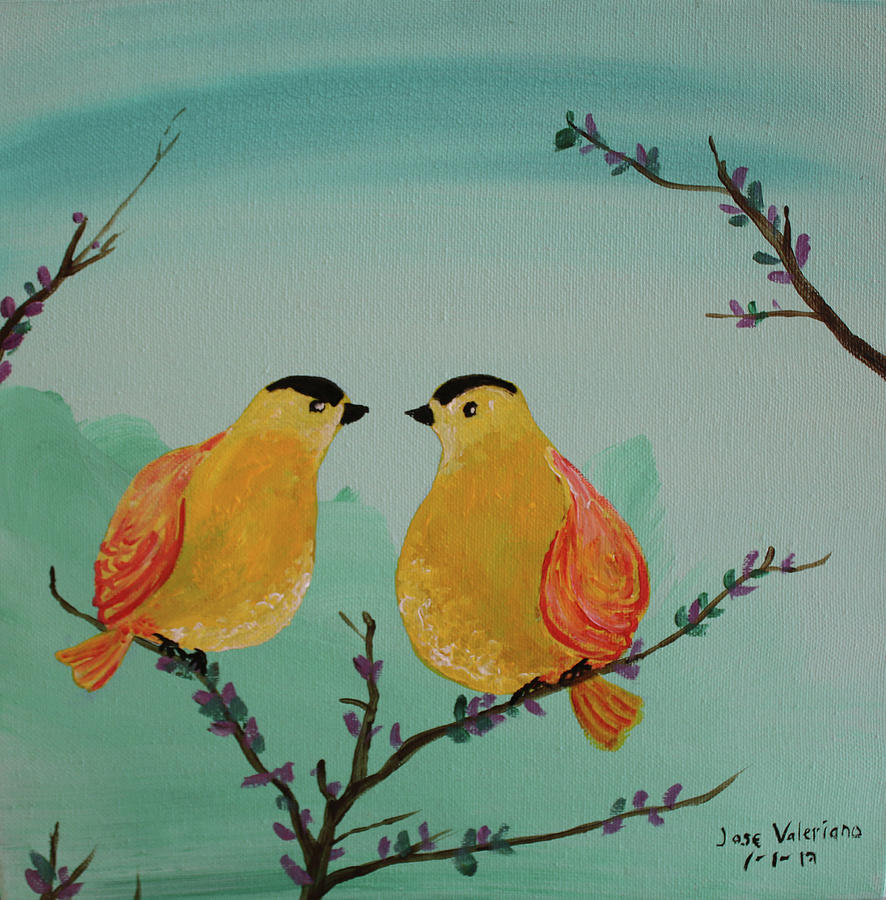 Two Yellow Chickadees by M Valeriano