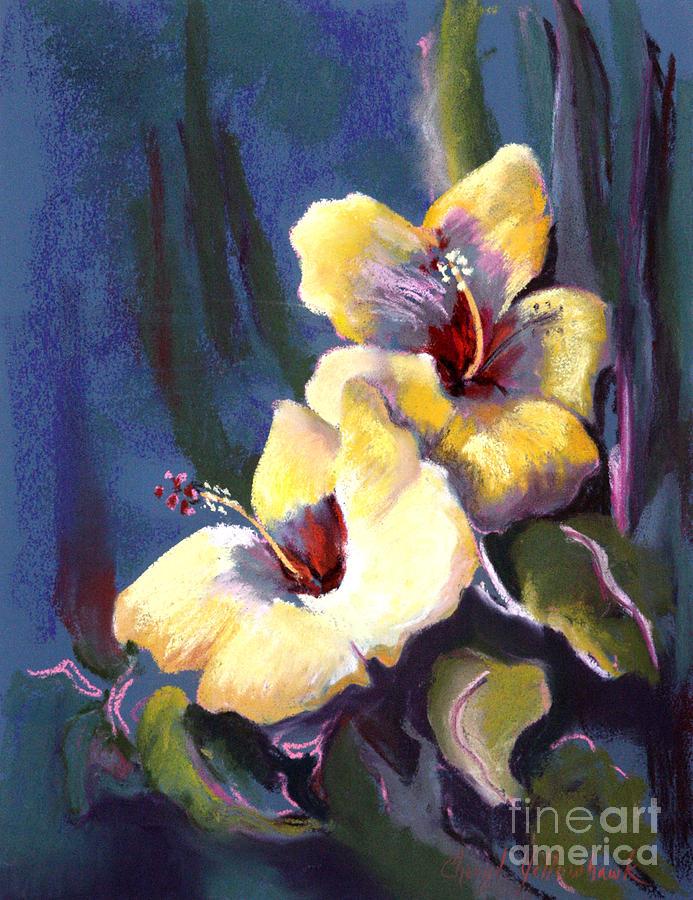 Hibiscus Pastel - Two Yellow Hibiscus by Cheryl Yellowhawk