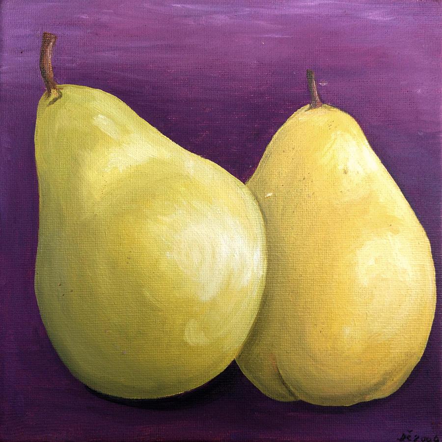 Two Yellow Pear Painting by Damijana Cermelj