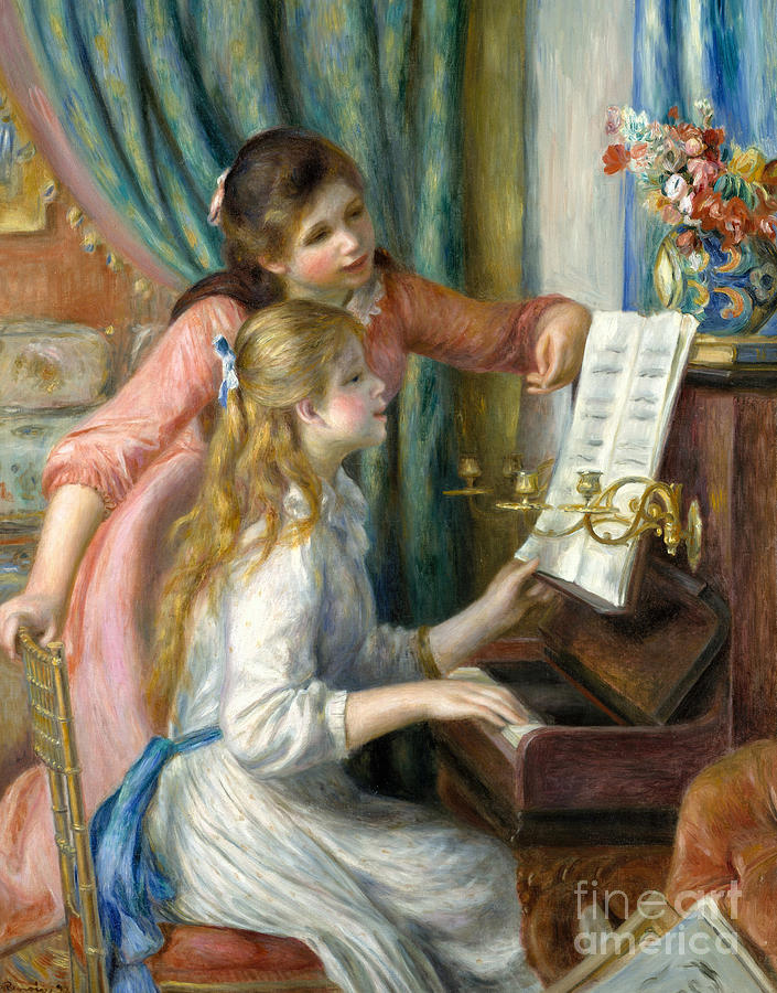 Renoir Painting - Two Young Girls at the Piano, 1892  by Pierre Auguste Renoir