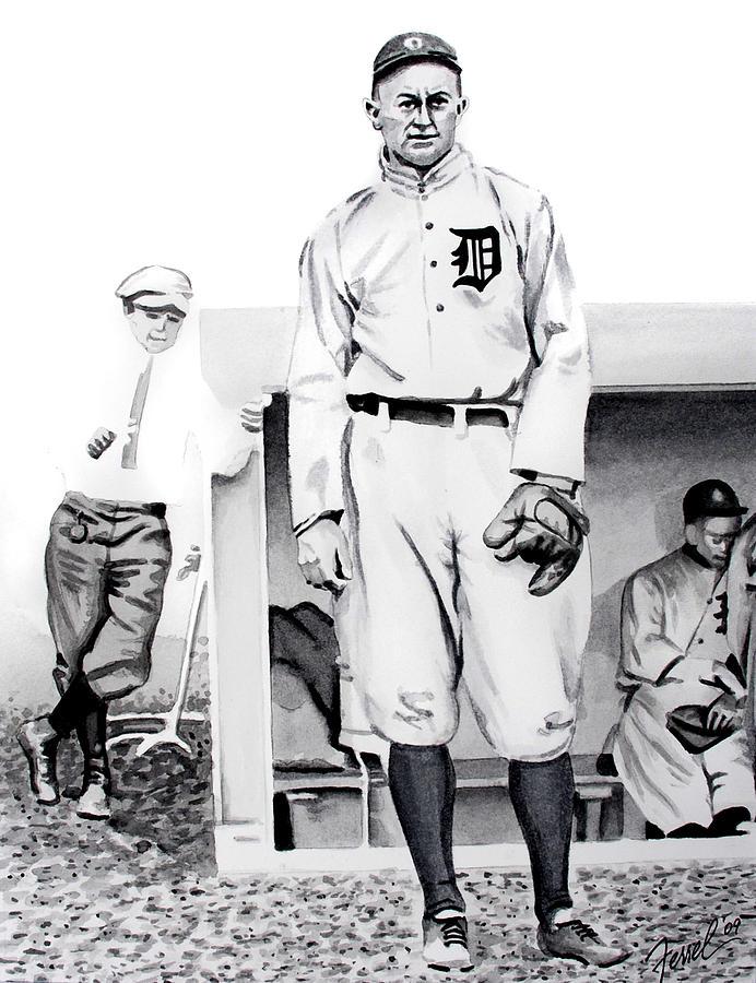 Baseball Painting - Ty Cobb by Ferrel Cordle