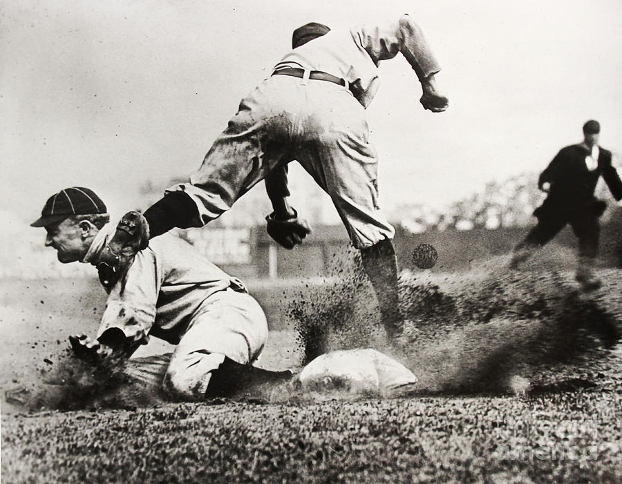 Detroit Tigers Photograph - Ty Cobb gets a Triple by Jon Neidert