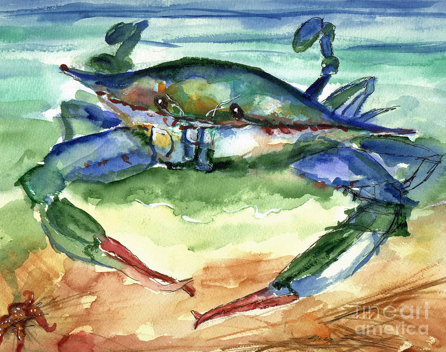 Crab Painting - Tybee Blue Crab by Doris Blessington