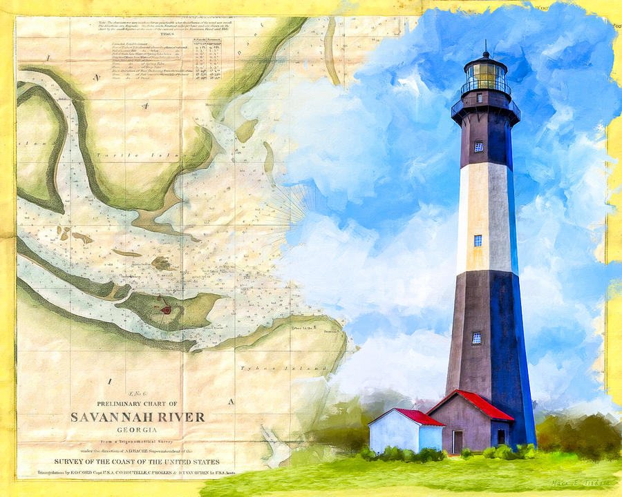 Tybee Mixed Media - Tybee Island Light - Vintage Nautical Map by Mark Tisdale