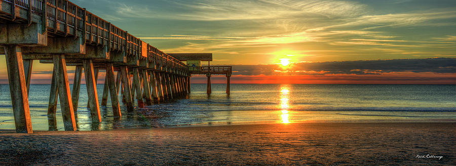 Tybee Island Pier Panorama Georgia Sunrise Beach Art by Reid Callaway