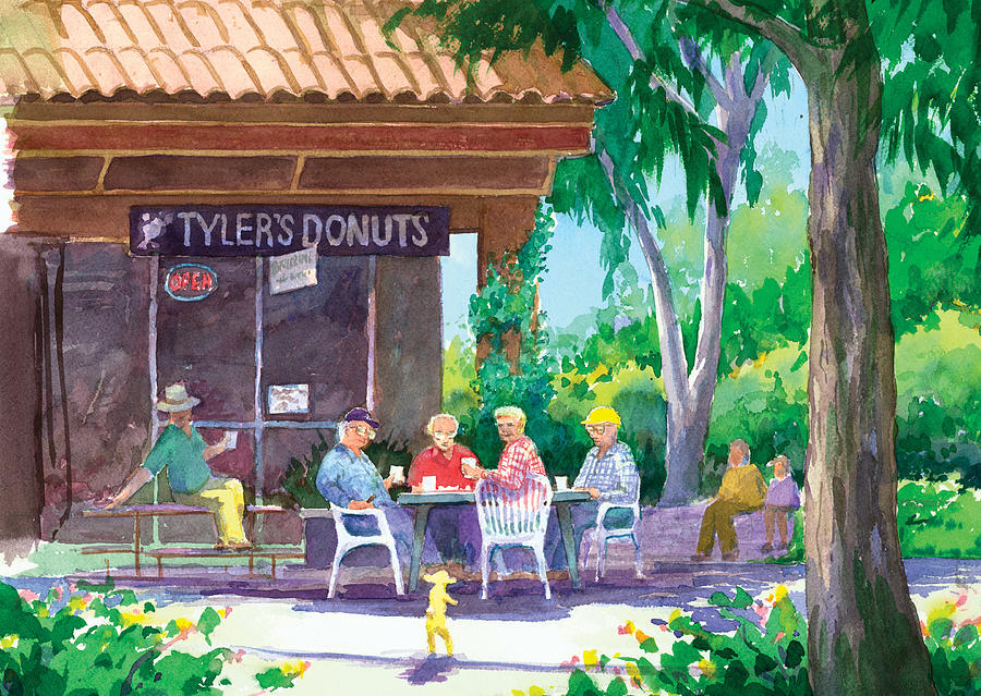 Old Men Painting - Tylers Donuts by Ray Cole