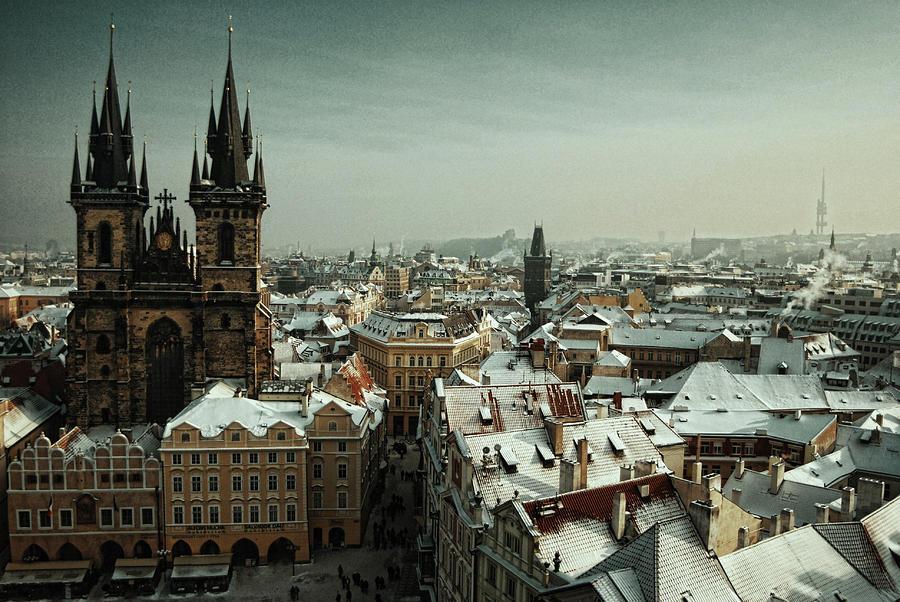 Horizontal Photograph - Tyn Church, Prague by Erik T Witsoe