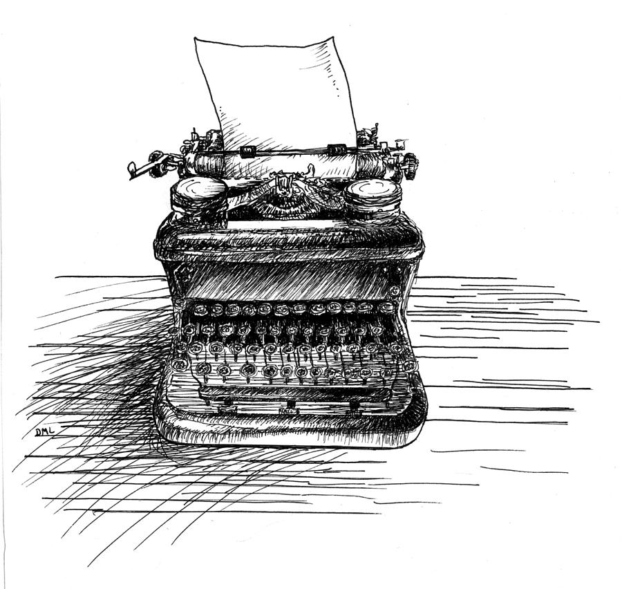 Typewriter Drawing - Typewriter by Diana Ludwig